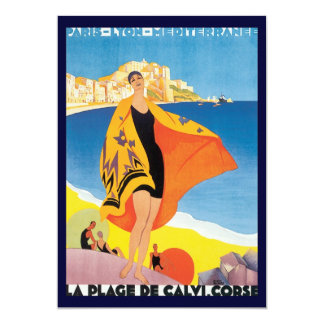 Vintage Travel, Summer Beach with Woman at Calvi Card