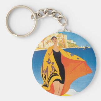Vintage Travel, Summer Beach with Woman at Calvi Basic Round Button Keychain