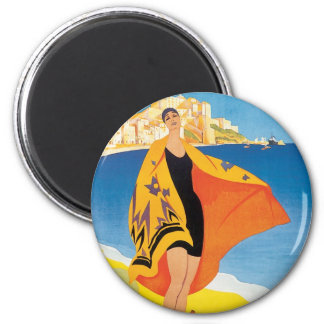 Vintage Travel, Summer Beach with Woman at Calvi Magnet