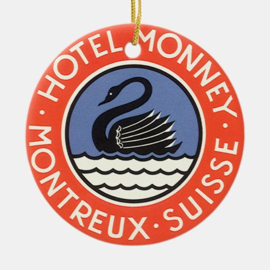 Vintage Travel, Swan Bird Hotel Monney Switzerland Ceramic Ornament