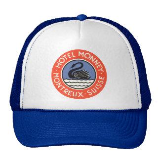 Vintage Travel, Swan Bird Hotel Monney Switzerland Trucker Hat