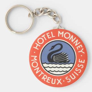 Vintage Travel, Swan Bird Hotel Monney Switzerland Basic Round Button Keychain