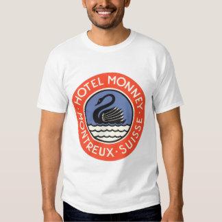 Vintage Travel, Swan Bird Hotel Monney Switzerland Tee Shirt