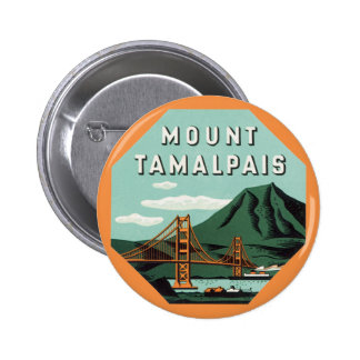 Vintage Travel, Tamalpais Mountain or Mount Tam Pinback Button