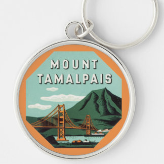 Vintage Travel, Tamalpais Mountain or Mount Tam Silver-Colored Round Keychain