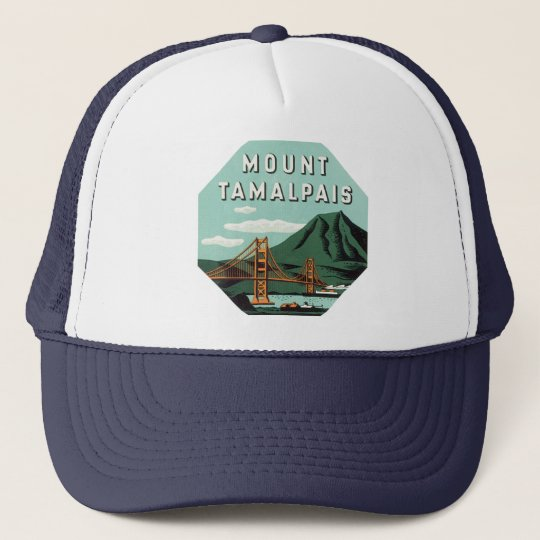 Vintage Travel, Tamalpais Mountain or Mount Tam Trucker Hat