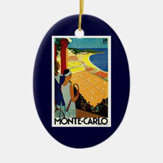 Vintage Travel, Tennis, Sports, Monte Carlo Monaco Ceramic Ornament