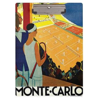 Vintage Travel, Tennis, Sports, Monte Carlo Monaco Clipboard