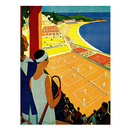 Vintage Travel, Tennis, Sports, Monte Carlo Monaco Postcard