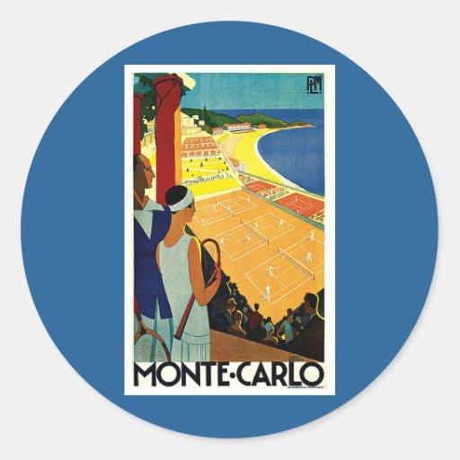 Vintage Travel, Tennis, Sports, Monte Carlo Monaco Sticker
