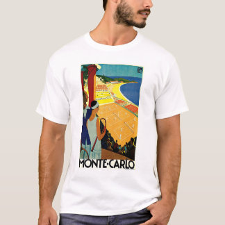 Vintage Travel, Tennis, Sports, Monte Carlo Monaco T-Shirt