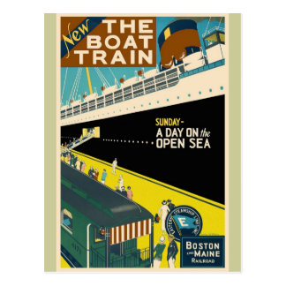Vintage Travel - The Train Boat Postcard