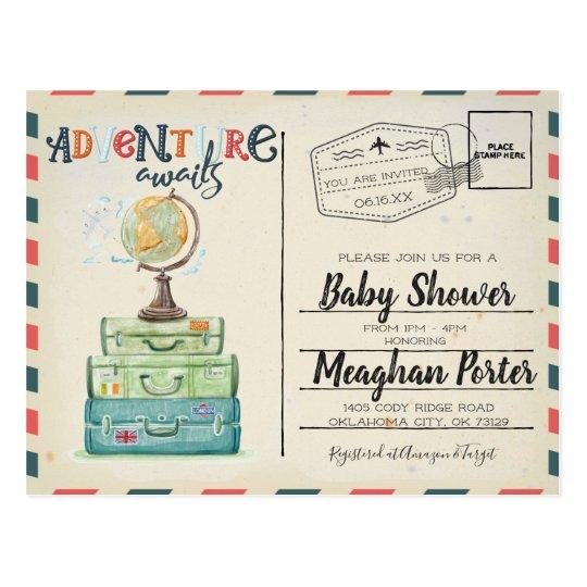 Vintage travel themed baby shower invitation postcard zazzle vintage travel themed baby shower invitation postcard filmwisefo Image collections