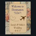 "Vintage Travel Themed Decoration-Wedding Sign<br><div class=""desc"">Vintage, travel themed decoration. This sign, designed by Aesthetic Journeys, features a vintage map background with an adorable airplane and heart graphic. Use the template to enter your own message and personalization or the &quot;customize it&quot; button to change colors or fonts. Choose a size and have it printed. Works framed...</div>"