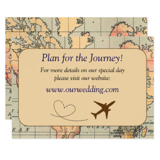 Vintage, Travel Themed Wedding Details Card