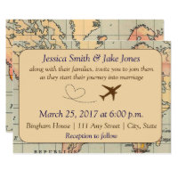 Vintage, Travel Themed Wedding Invite