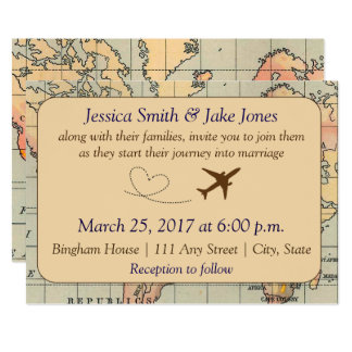 Travel wedding invitations announcements zazzle vintage travel themed wedding invite stopboris Images