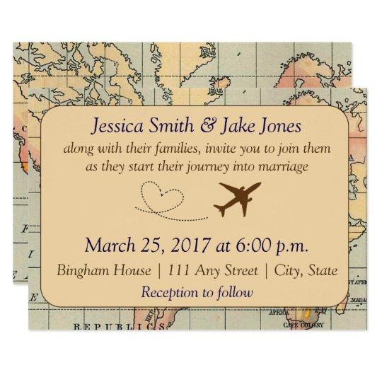 Vintage, Travel Themed Wedding Invite
