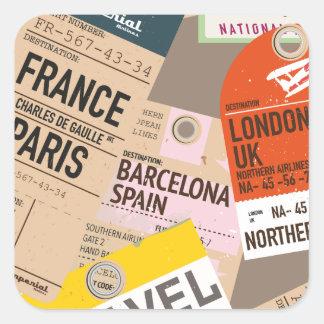 Vintage Travel Tickets Square Sticker