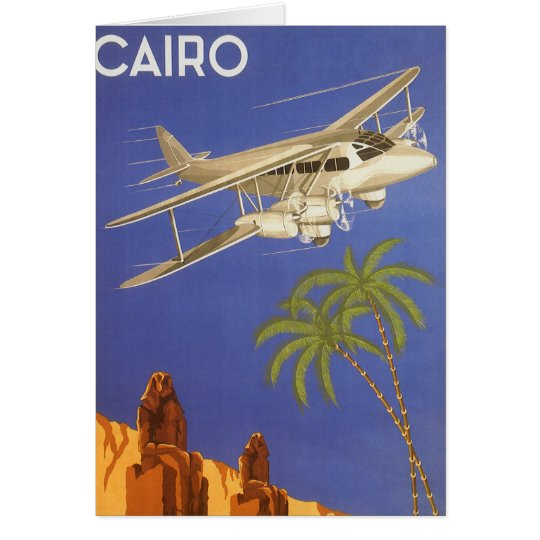 Vintage Travel to Cairo, Eygpt, Biplane Airplane Card