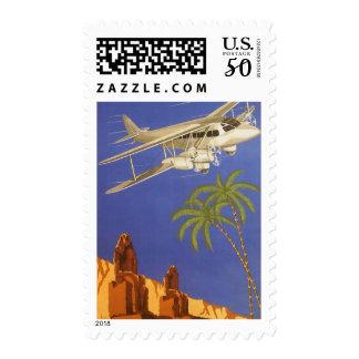 Vintage Travel to Cairo, Eygpt, Biplane Airplane Postage