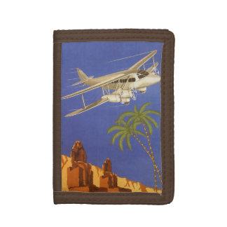 Vintage Travel to Cairo, Eygpt, Biplane Airplane Trifold Wallet