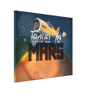 Vintage Travel To Mars Travel Poster Canvas Print