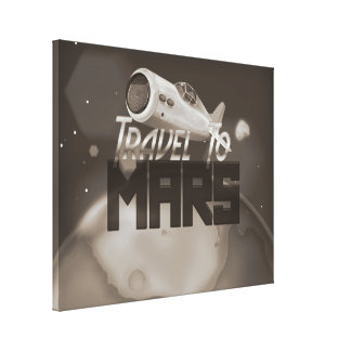 Vintage Travel To Mars Travel Poster Stretched Canvas Prints