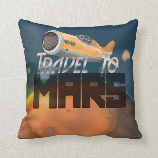 Vintage Travel To Mars Travel Poster Throw Pillow