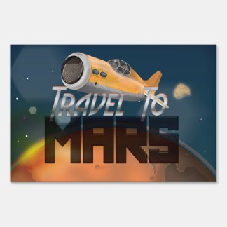Vintage Travel To Mars Travel Poster Lawn Signs
