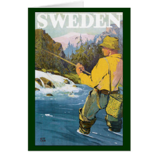 Vintage Travel to Sweden, Fisherman Sports Fishing Card