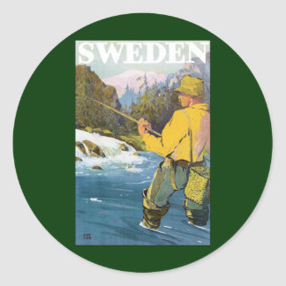 Vintage Travel to Sweden, Fisherman Sports Fishing Classic Round Sticker
