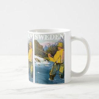 Vintage Travel to Sweden, Fisherman Sports Fishing Coffee Mug