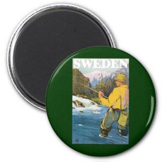 Vintage Travel to Sweden, Fisherman Sports Fishing Magnet