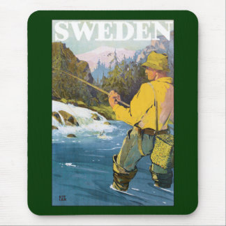 Vintage Travel to Sweden, Fisherman Sports Fishing Mouse Pad