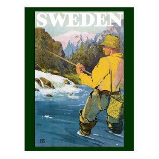 Vintage Travel to Sweden, Fisherman Sports Fishing Postcard