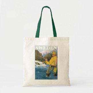 Vintage Travel to Sweden, Fisherman Sports Fishing Tote Bag