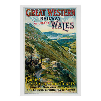 Vintage travel to Wales advert Posters