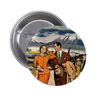 Vintage Travel, Tourists on the Airport Tarmac Pinback Button