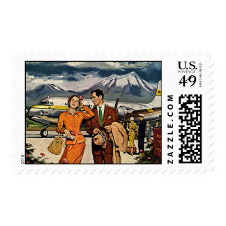 Vintage Travel, Tourists on the Airport Tarmac Postage Stamp