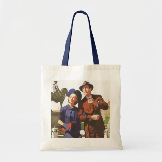 Vintage Travel, Tourists on Vacation Sightseeing Tote Bag