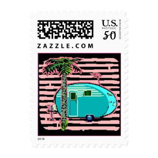 Vintage Travel Trailer Retro Fun Canned Ham Stamps