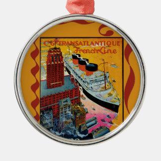 Vintage Travel - Transatlantic French Line Metal Ornament