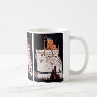 Vintage Travel Transportation Cruise Ship at Night Coffee Mug