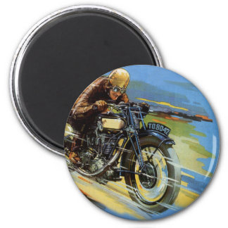 Vintage Travel Transportation, Racing Motorcycle 2 Inch Round Magnet
