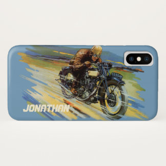 Vintage Travel Transportation, Racing Motorcycle iPhone X Case