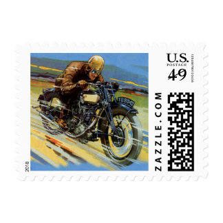 Vintage Travel Transportation, Racing Motorcycle Postage