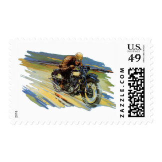 Vintage Travel Transportation, Racing Motorcycle Postage