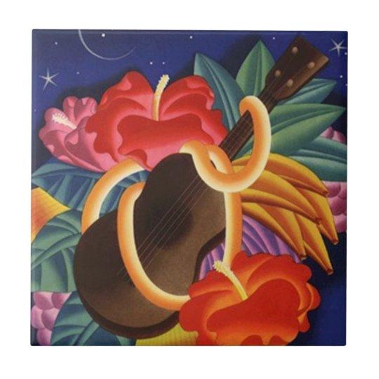 Vintage Travel Ukelele Hibiscus Hawaii Nights Tile
