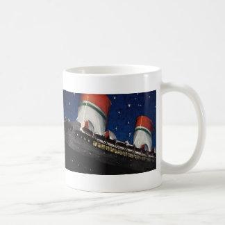 Vintage Travel, Vacation on a Cruise Ship at Night Coffee Mug